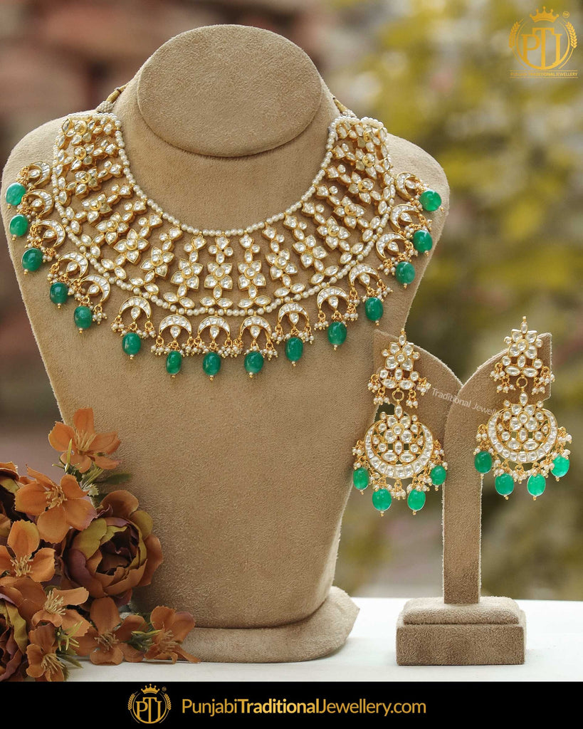 Gold Finished Emerald Kundan Pearl Necklace Set | Punjabi Traditional Jewellery Exclusive