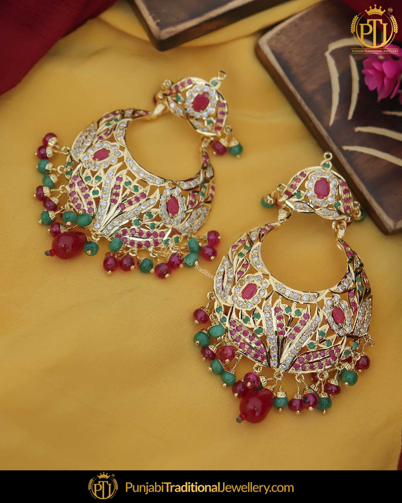 Gold Finished Jadau Red Green Earrings (92.5 Silver) | Punjabi Traditional Jewellery Exclusive