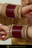 Maroon Chamapgne Stone Pearl  Bridal Chura | Punjabi Traditional Jewellery Exclusive