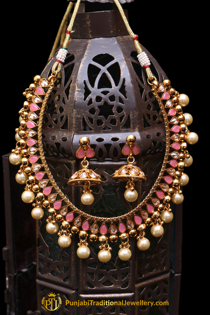 Pink Polki Pearl Necklace Set By Punjabi Taditional Jewellery