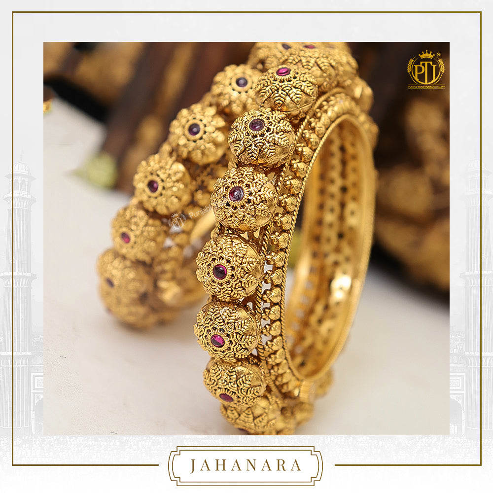 Jahanara Antique Gold Rubby Opneable Karra Bangle (Pair) | Punjabi Traditional Jewellery