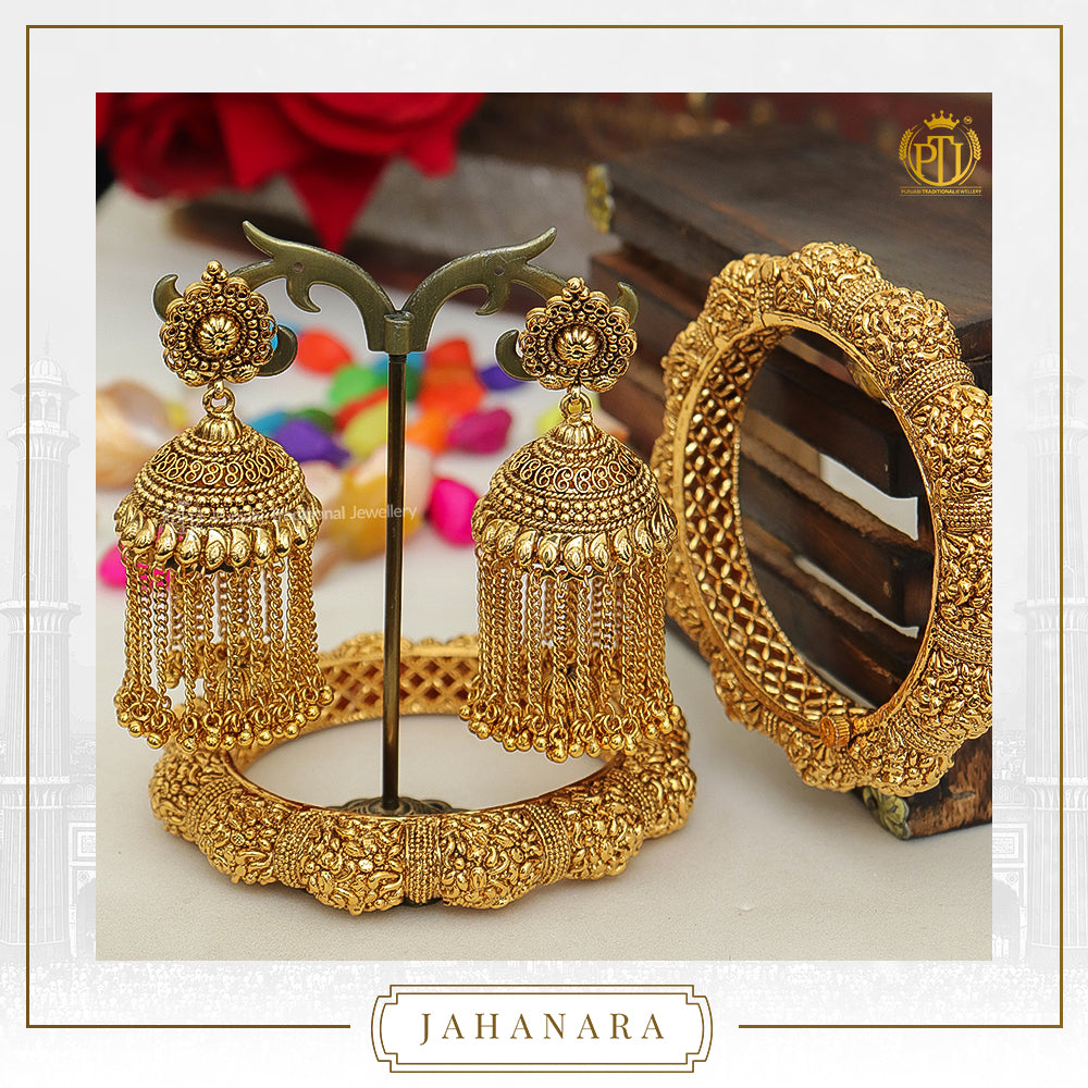 Jahanara Antique Gold Pearl Opneable Karra Bangle (Pair) & Jhumki Earrings  | Punjabi Traditional Jewellery