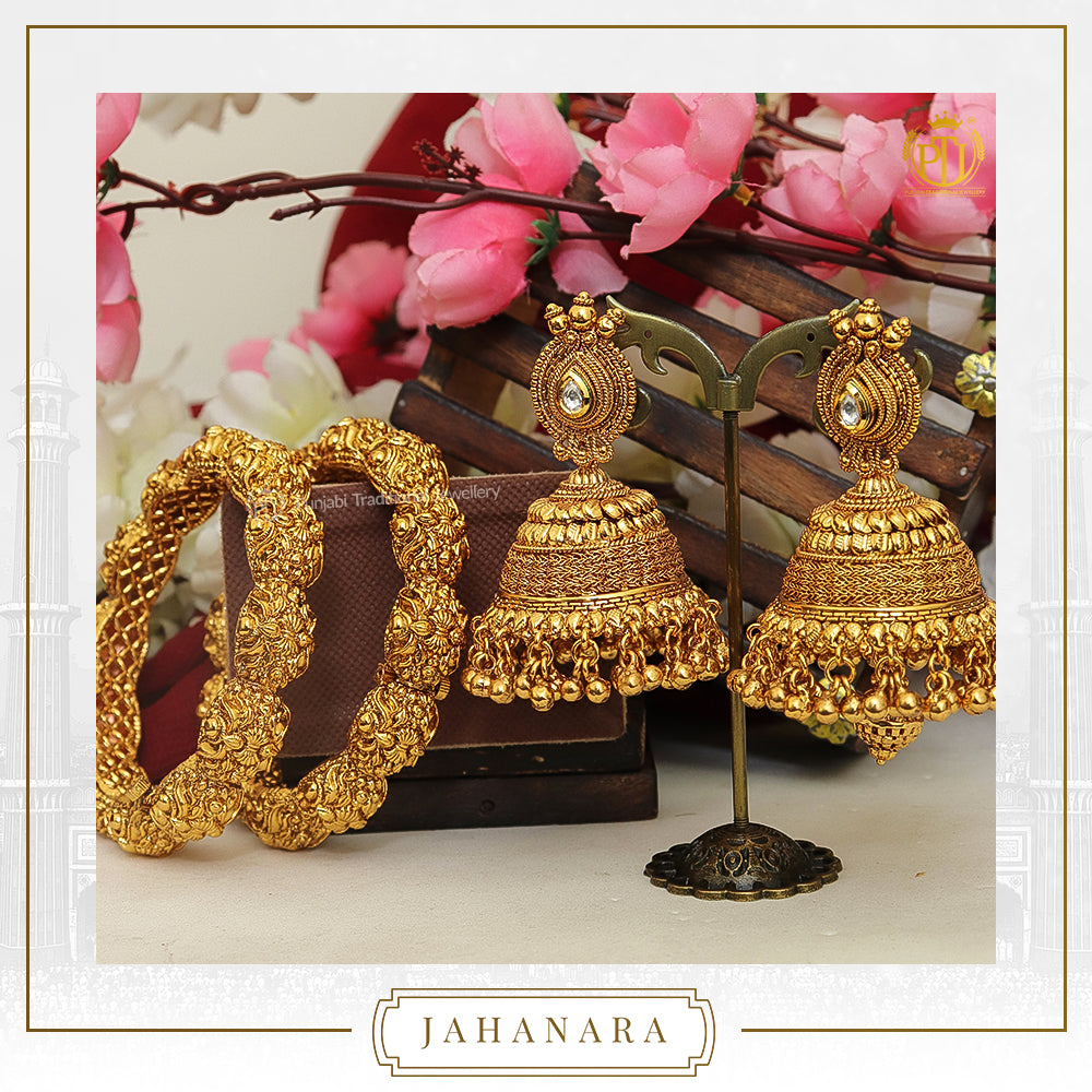 Jahanara Antique Gold Pearl Opneable Karra Bangle (Pair) & Jhumki Kundan Earrings  | Punjabi Traditional Jewellery