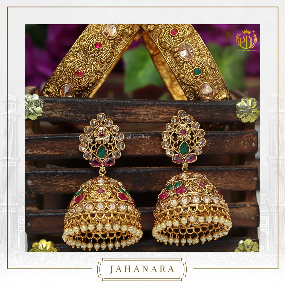 Jahanara Antique Gold Champagne Stone Opneable Karra Bangle (Pair) & Jhumki Rubby Emerald Earrings  | Punjabi Traditional Jewellery