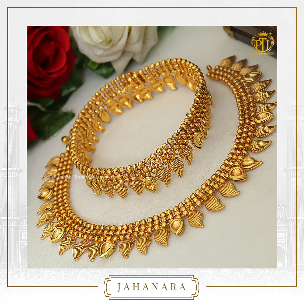 Jahanara Antique Gold Kundan Payal | Punjabi Traditional Jewellery