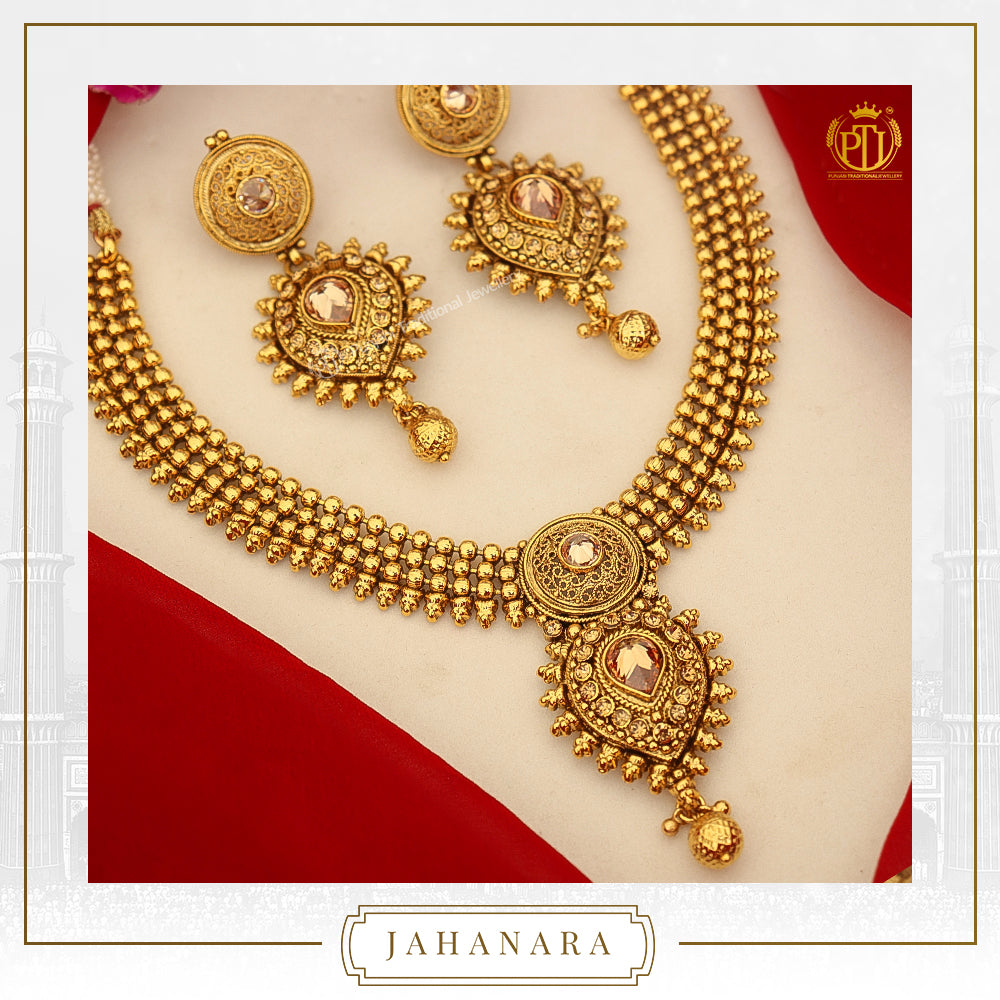 Jahanara Antique Gold Champagne Stone Necklace Set | Punjabi Traditional Jewellery
