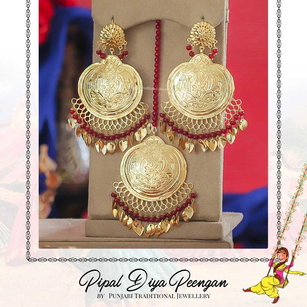 Gold Finished Rubby Pearl Pippal Patti Earring Tikka Set | Pipal Diya Peengan by Punjabi Traditional Jewellery Exclusive