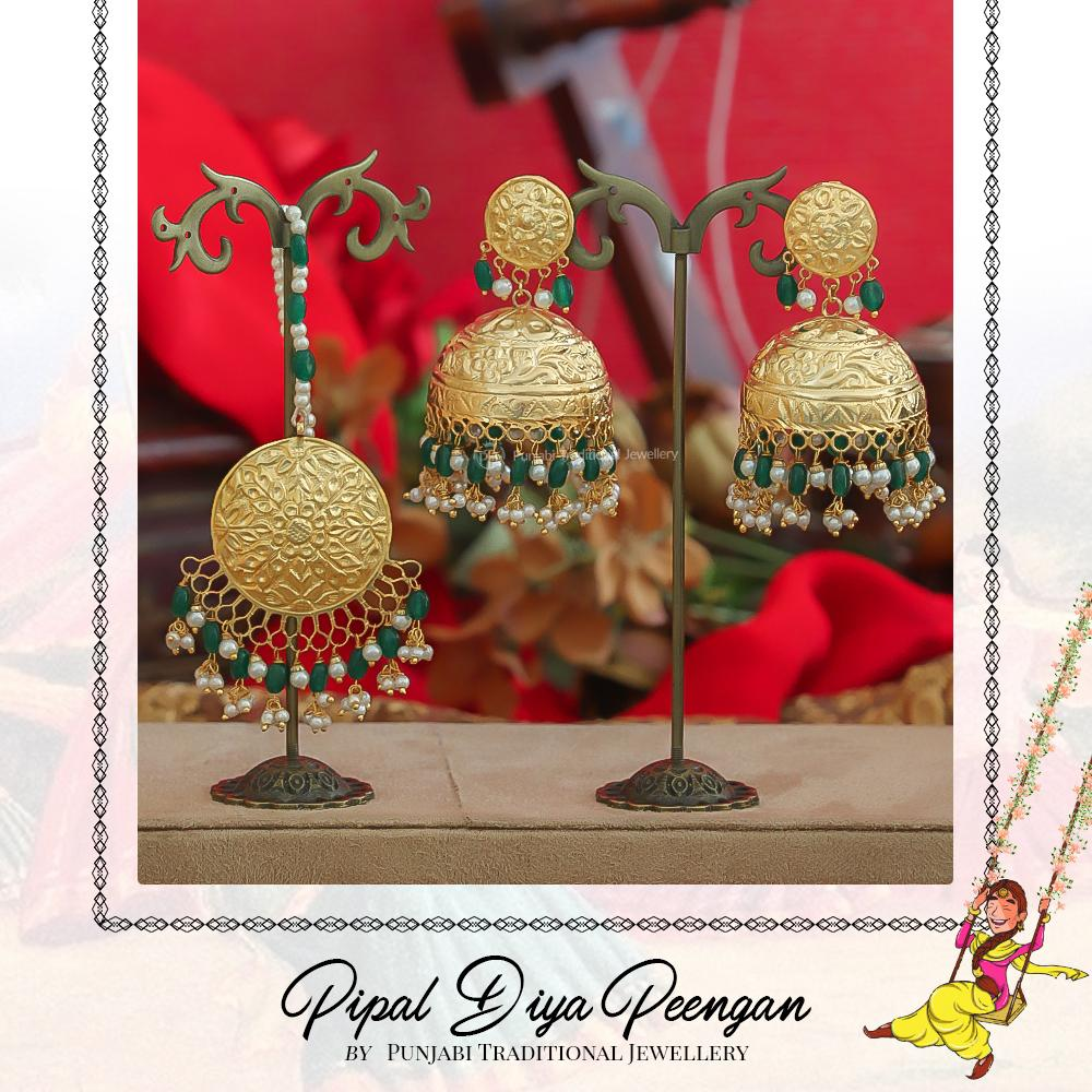 Gold Finished Pearl Emerald Earring Tikka Set | Pipal Diya Peengan by Punjabi Traditional Jewellery Exclusive