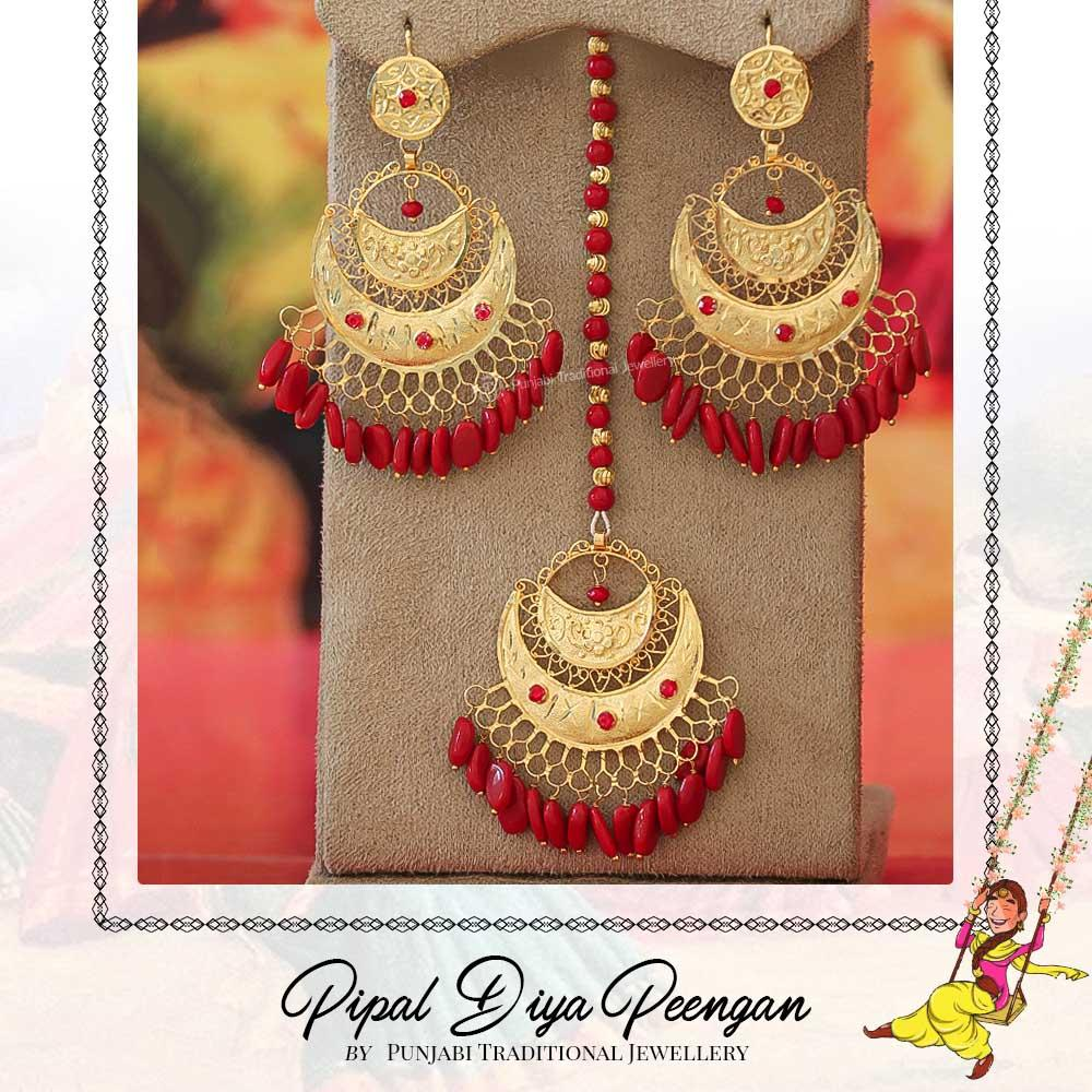 Gold Finished Pearl Rubby Earring Tikka Set | Pipal Diya Peengan by Punjabi Traditional Jewellery Exclusive