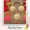 Gold Finished Pearl Pink Pippal Patti Earring Tikka Set | Pipal Diya Peengan by Punjabi Traditional Jewellery Exclusive