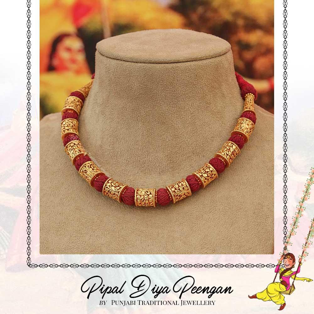 Gold Finished Rubby kaintha | Pipal Diya Peengan by Punjabi Traditional Jewellery Exclusive