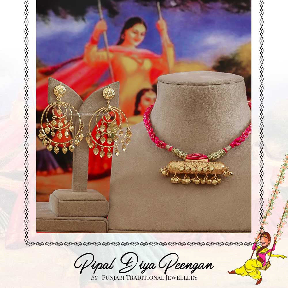 Gold Finished Pink Pippal Patti Earring & Dhola Necklace Set | Pipal Diya Peengan by Punjabi Traditional Jewellery Exclusive