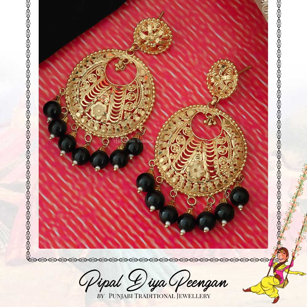 Gold Finished Black Earrings  | Pipal Diya Peengan by Punjabi Traditional Jewellery Exclusive