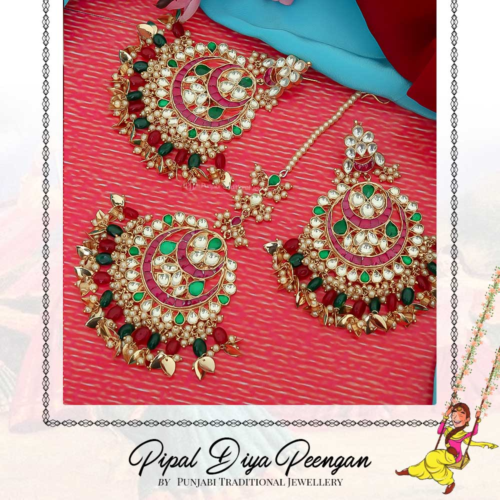 Gold Finished Pippal Patti Rubby Emerald Kundan Earring Tikka Set  | Pipal Diya Peengan by Punjabi Traditional Jewellery Exclusive