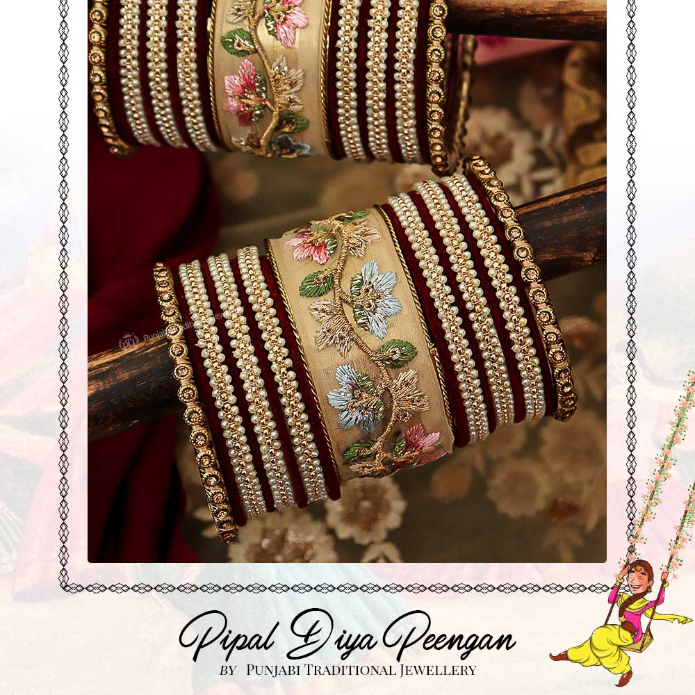 Antique Gold Hand Embroidered Bangles Set For Both Hands | Pipal Diya Peengan by Punjabi Traditional Jewellery Exclusive