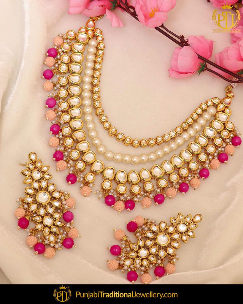 Pink Kundan Pearl Necklace Set | Punjabi Traditional Jewellery Exclusive