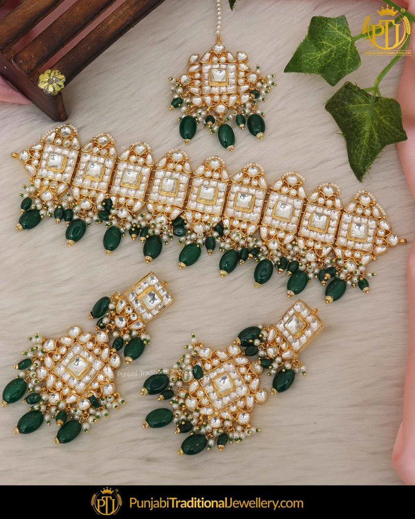 Emerald Kundan Pearl Choker Necklace Set By Punjabi Traditional Jewellery