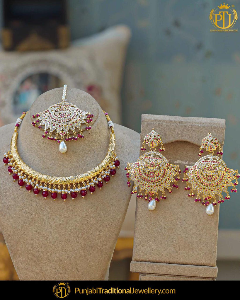 Gold Finished Rubby Jadau Pearl Hasli Necklace Set | Punjabi Traditional Jewellery Exclusive