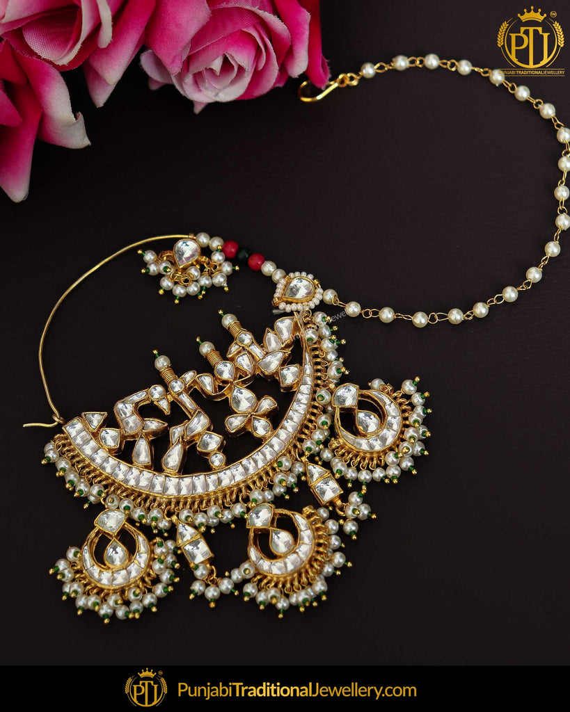 Gold Finished Kundan Nath | Punjabi Traditional Jewellery Exclusive