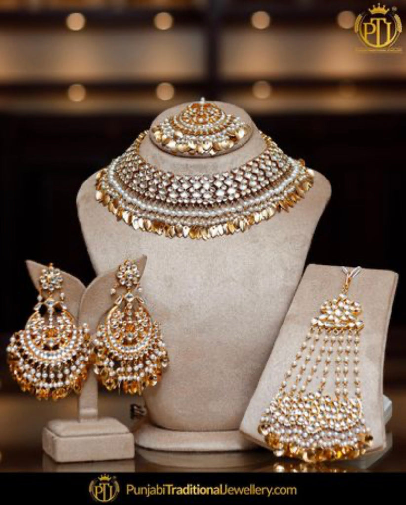 .Gold Finished Kundan Set & Earring Tikka Set By Punjabi Traditional Jewellery
