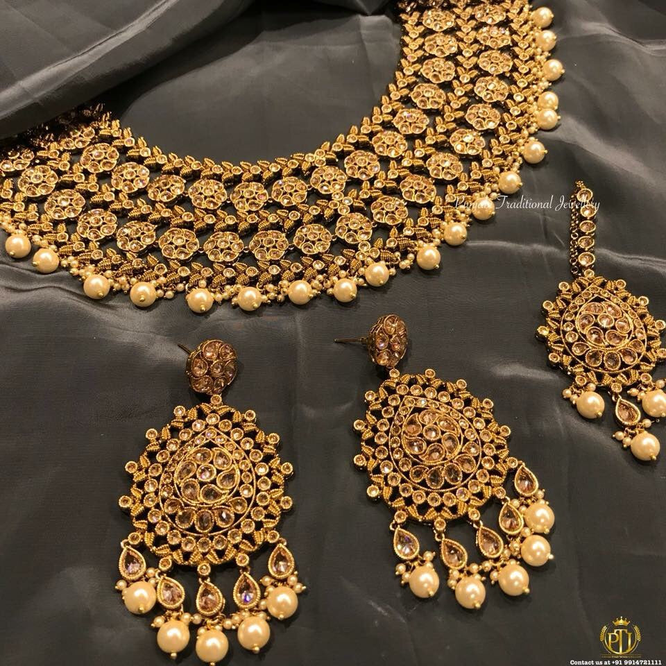 Swati Champagne Stone Necklace Set