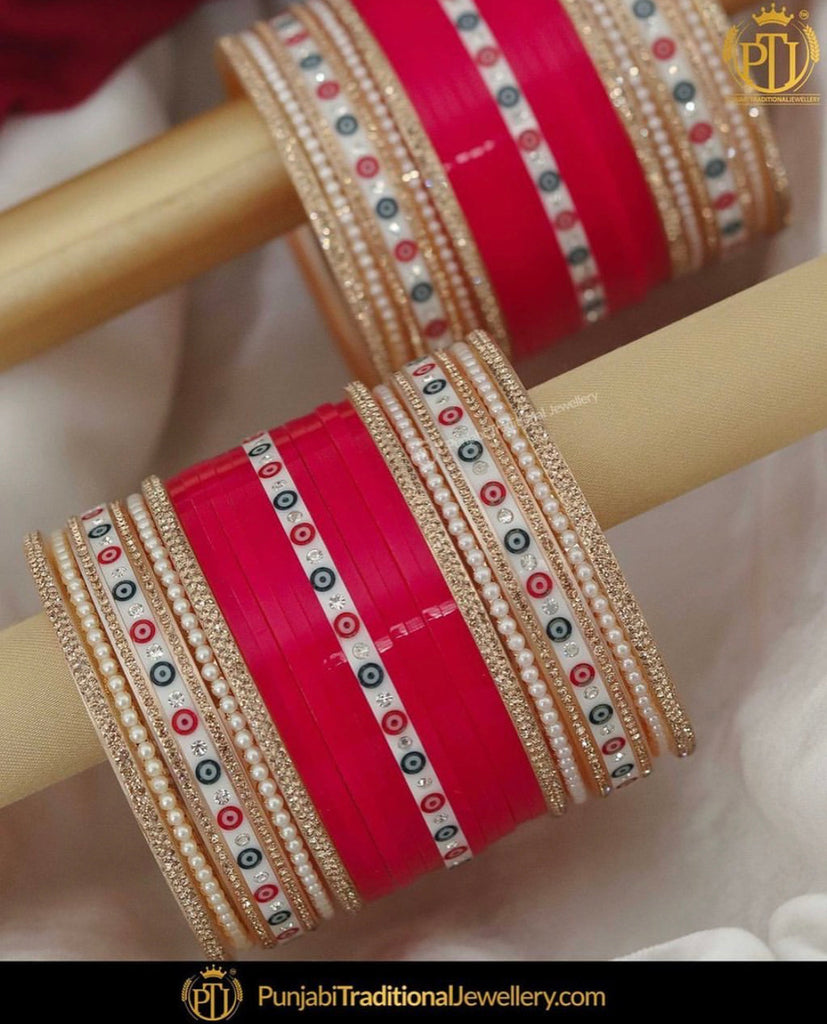 Red Dotted Wedding Chura by Punjabi Traditional Jewellery Exclusive