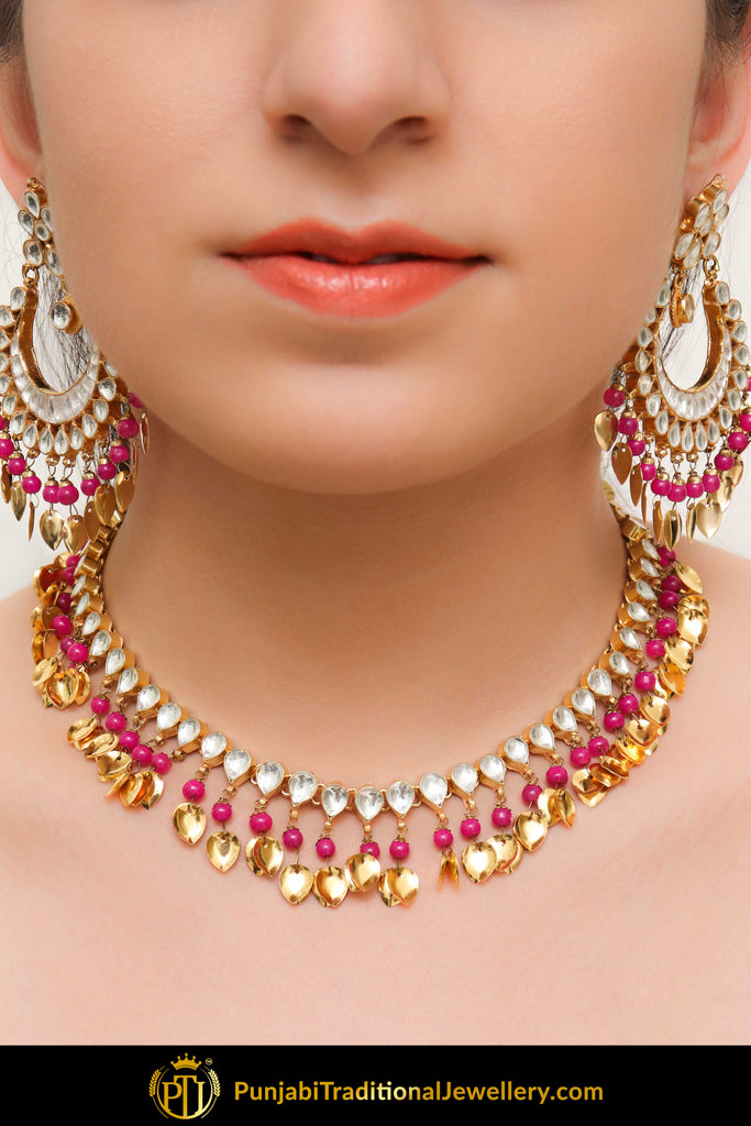 Ajradah Pink Pippal Patti Kundan Necklace With Earrings | Punjabi Traditional Jewellery Exclusive
