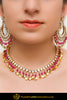 Ajradah Pink Pippal Patti Kundan Necklace, Earrings With Tikka Set | Punjabi Traditional Jewellery Exclusive