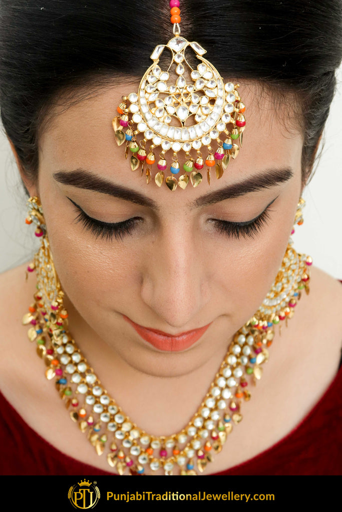 Aidah Navratan Pippal Patti Kundan Necklace, Tikka With Earring Set | Punjabi Traditional Jewellery Exclusive