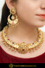 Alvina Gold Finished Rubby Kundan Hasli Necklace & Earrings | Punjabi Traditional Jewellery Exclusive