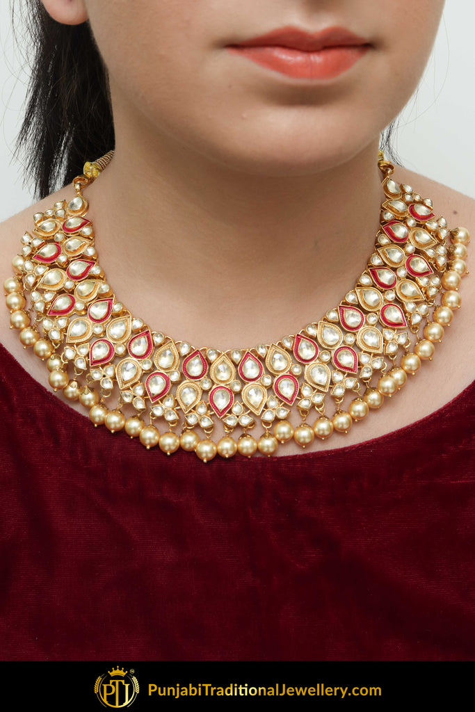 Annam Rubby Kundan & Pearl Only Necklace | Punjabi Traditional Jewellery Exclusive