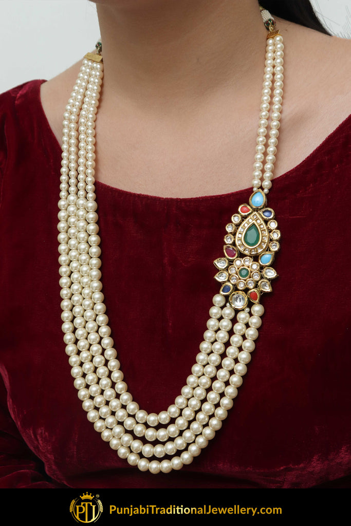 Aqeela Navratan Pearl Kundan Only Necklace | Punjabi Traditional Jewellery Exclusive