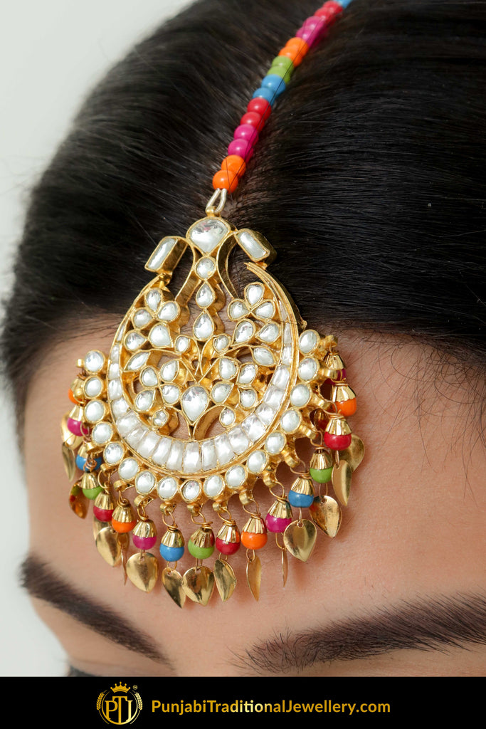 Aidah Navratan Pippal Patti Kundan Tikka | Punjabi Traditional Jewellery Exclusive