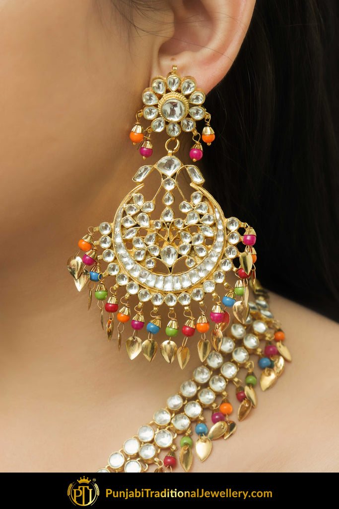 Aidah Navratan Pippal Patti Kundan Only Earrings | Punjabi Traditional Jewellery Exclusive