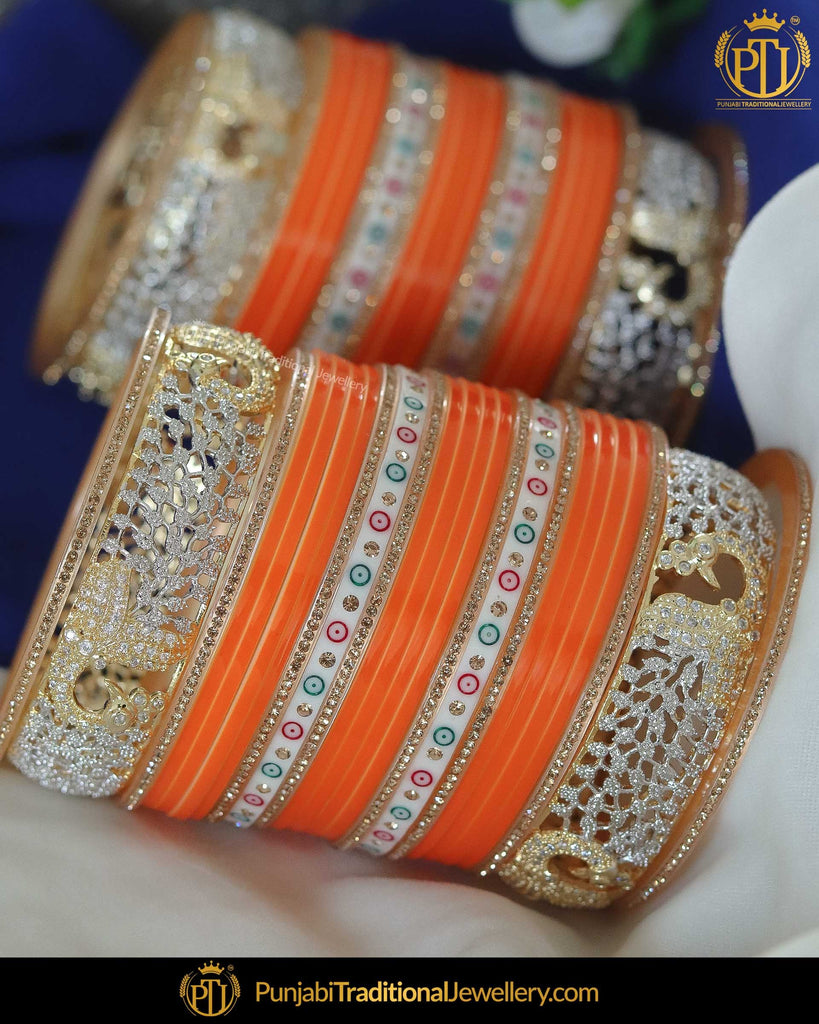 Dotted AD Stone Yellow Bridal Traditional Chura | Punjabi Traditional Jewellery Exclusive
