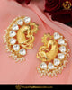 Gold Finished Kundan Stone Pearl Morni Stud Earrings | Punjabi Traditional Jewellery Exclusive