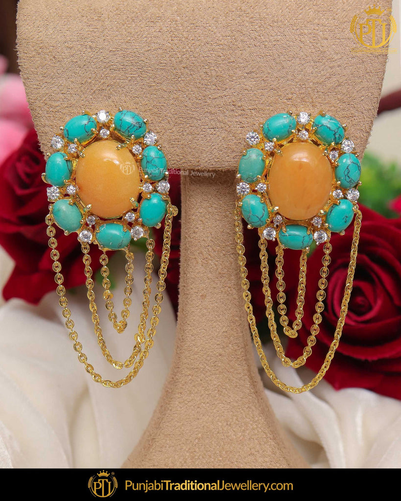 Gold Finished Firoza Stone & Yellow Stud Earrings | Punjabi Traditional Jewellery Exclusive