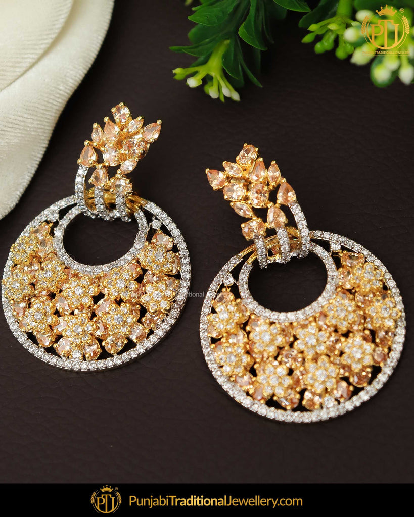 Gold Finished AD Stone Earrings | Punjabi Traditional Jewellery Exclusive