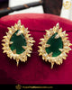 Gold Finished Emerlad Stud Earrings | Punjabi Traditional Jewellery Exclusive