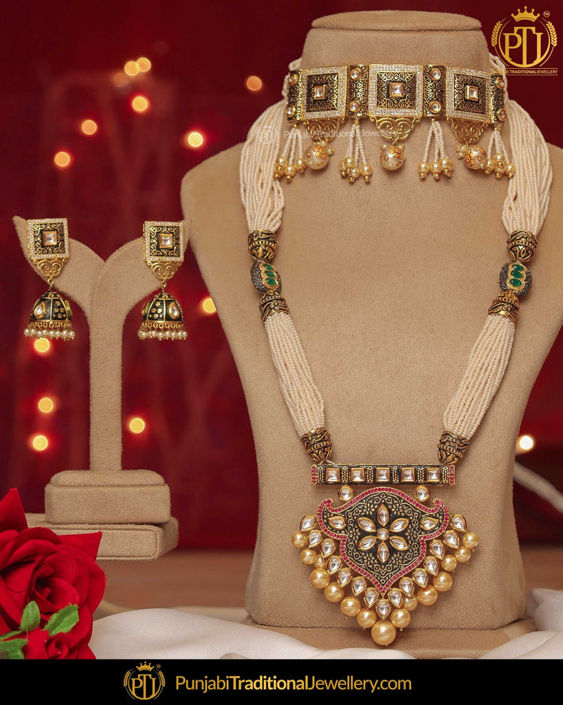 Hand Painted Meena Pearl Choker & Long Mala Necklace Set | Punjabi Traditional Jewellery Exclusive