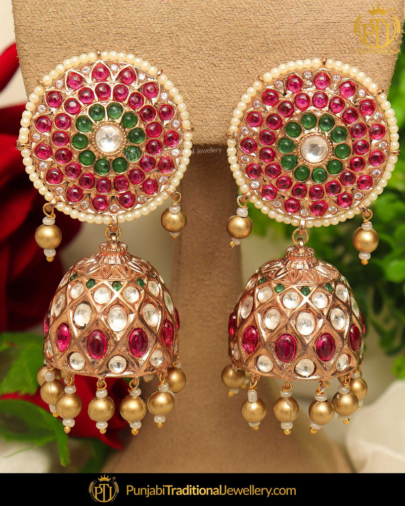 Gold Finished Rubby Emerlad Kundan Pearl Jhumki Earrings | Punjabi Traditional Jewellery Exclusive