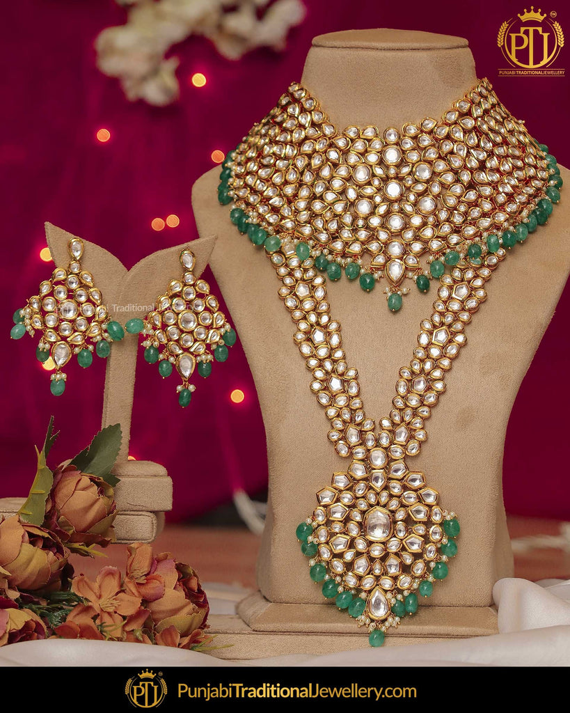 Gold Finished Pearl Emerlad Long Necklace Set | Punjabi Traditional Jewellery Exclusive