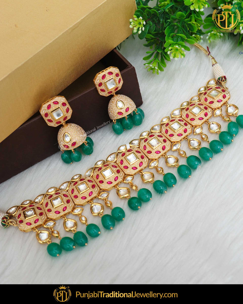 Hand Painted Meena New Jade Rubby Kundan Pearl Necklace Set | Punjabi Traditional Jewellery Exclusive