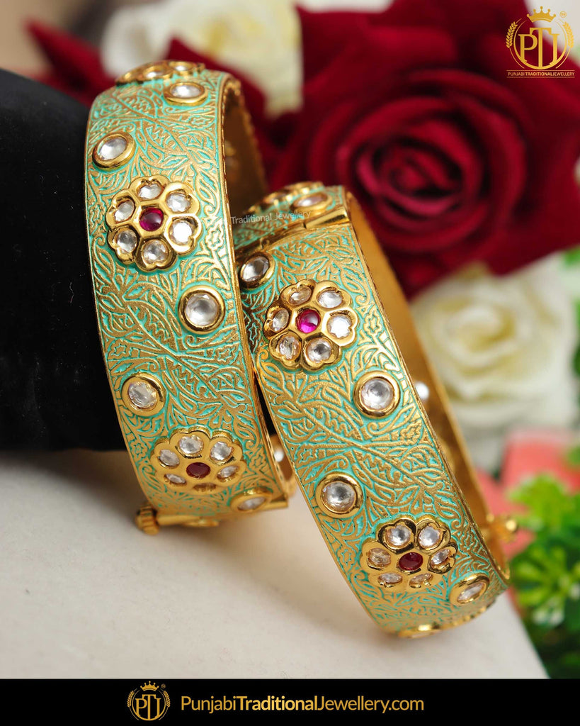 Hand Painted Meena Pista Green Rubby Kundan Pearl Openable Karra Bangle | Punjabi Traditional Jewellery Exclusive