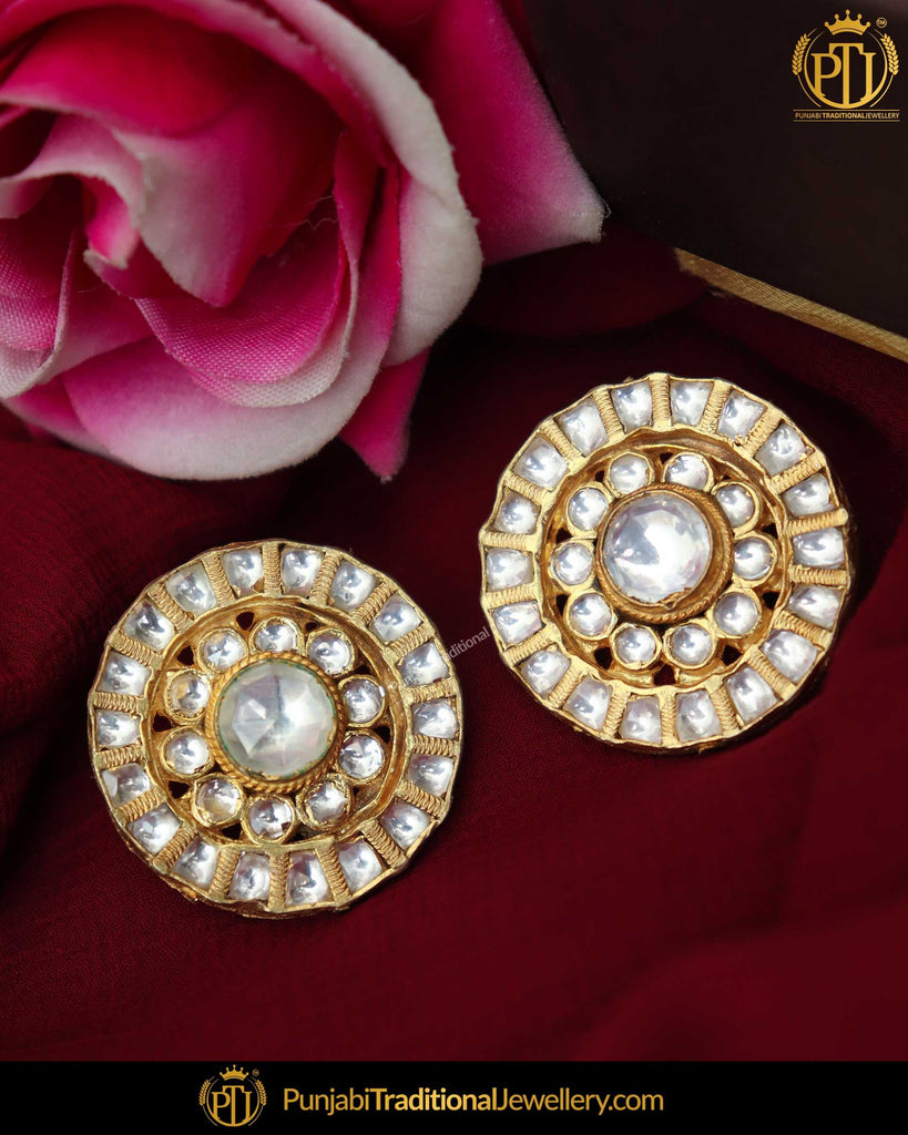 Gold Finished Kundan Stud Earrings | Punjabi Traditional Jewellery Exclusive