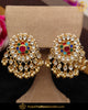 Gold Finished Navratan Kundan Stud Earrings | Punjabi Traditional Jewellery Exclusive