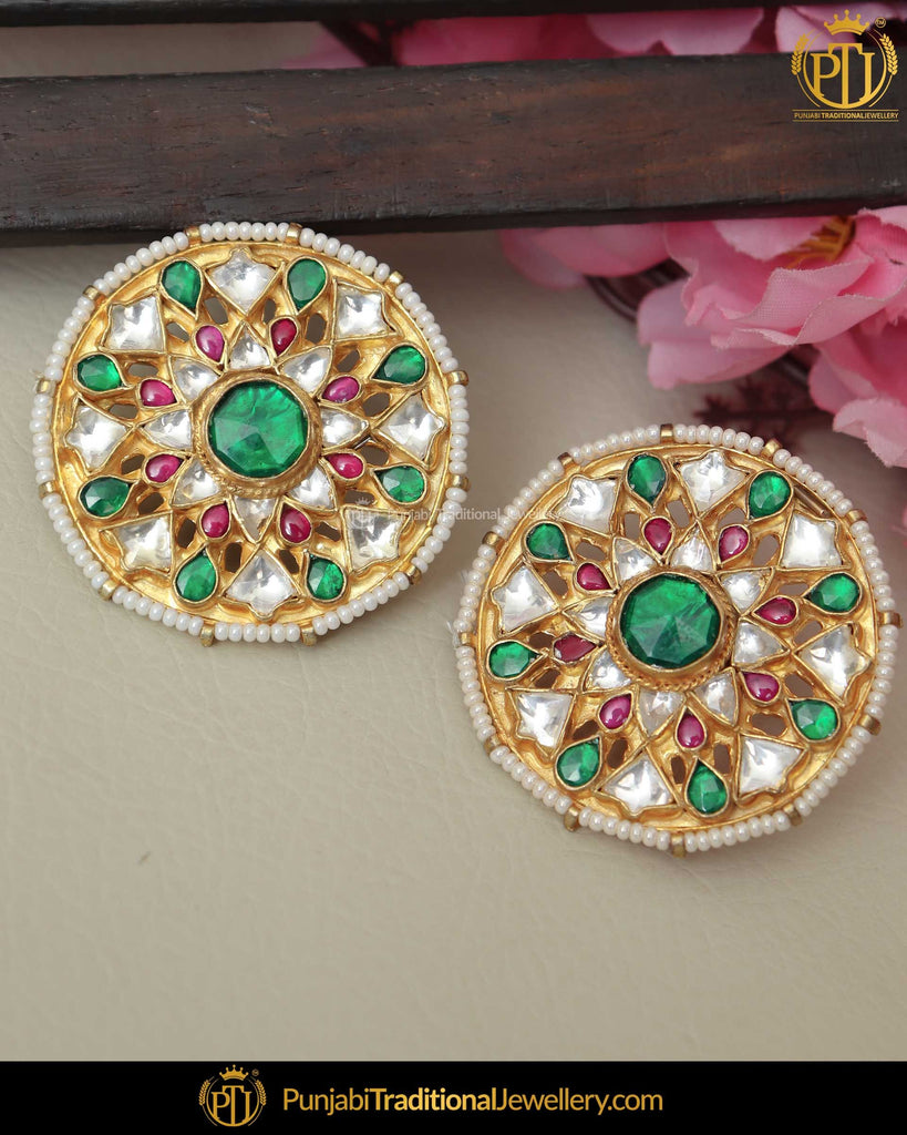 Gold Finished Rubby Emerlad Kundan Stud Pearl Earrings | Punjabi Traditional Jewellery Exclusive