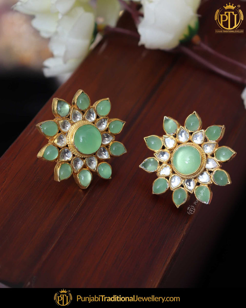Gold Finished Kundan New Jade Stud Earrings | Punjabi Traditional Jewellery Exclusive
