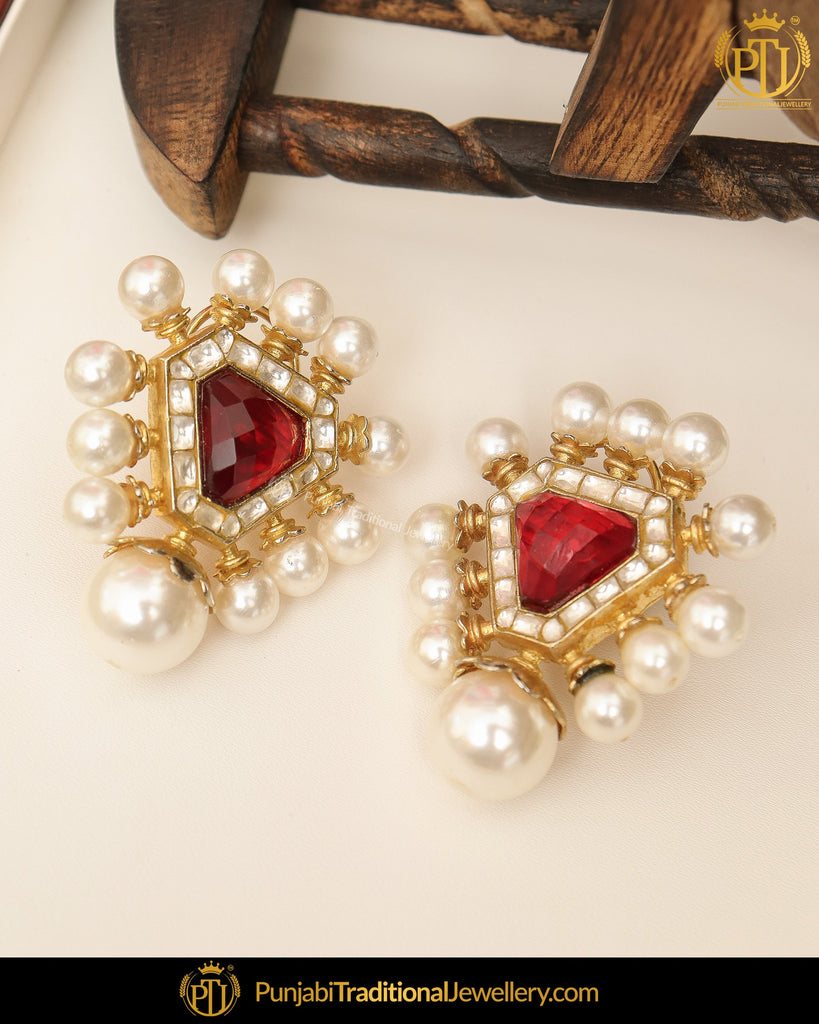 Gold Finished Pearl Rubby Stud Earrings | Punjabi Traditional Jewellery Exclusive