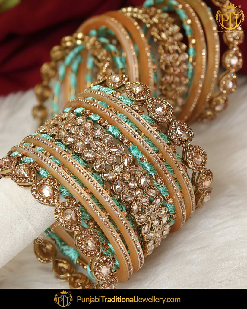 Firozi Thread Champagne Stone Bangles Set (Both Hand Pair) | Punjabi Traditional Jewellery Exclusive